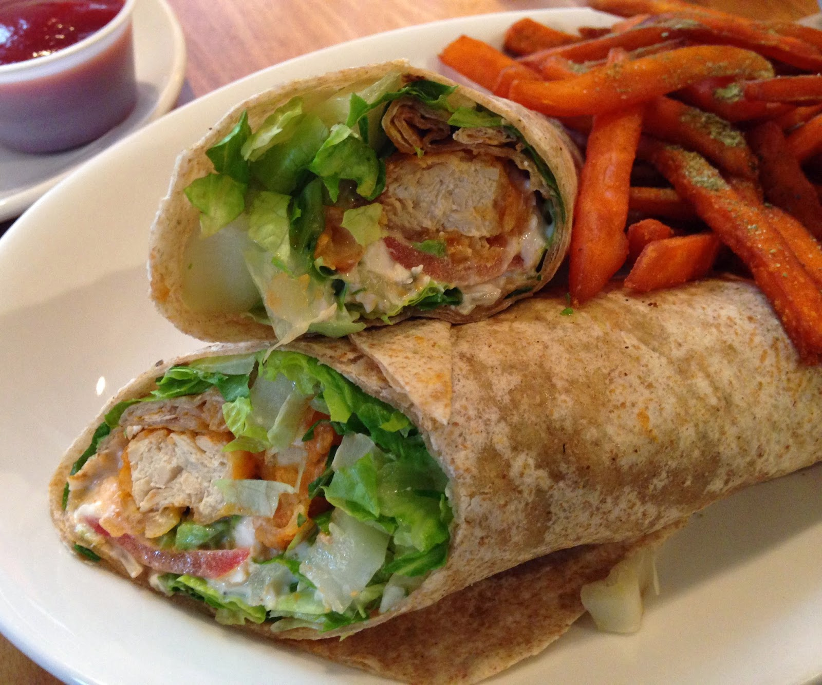 Wrap and Fries at Native Foods Cafe Chicago - Veega Vegan