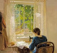Sewing by Hans Heysen (1913)