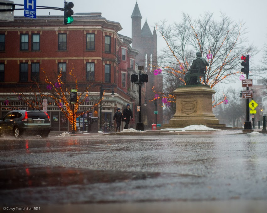 Portland, Maine USA January 2016 Longfellow Square in the rain. Photo by Corey Templeton.