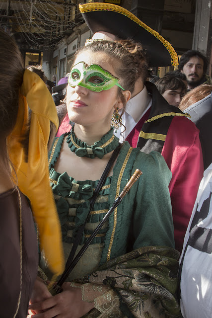 young girl in green costume, Venice