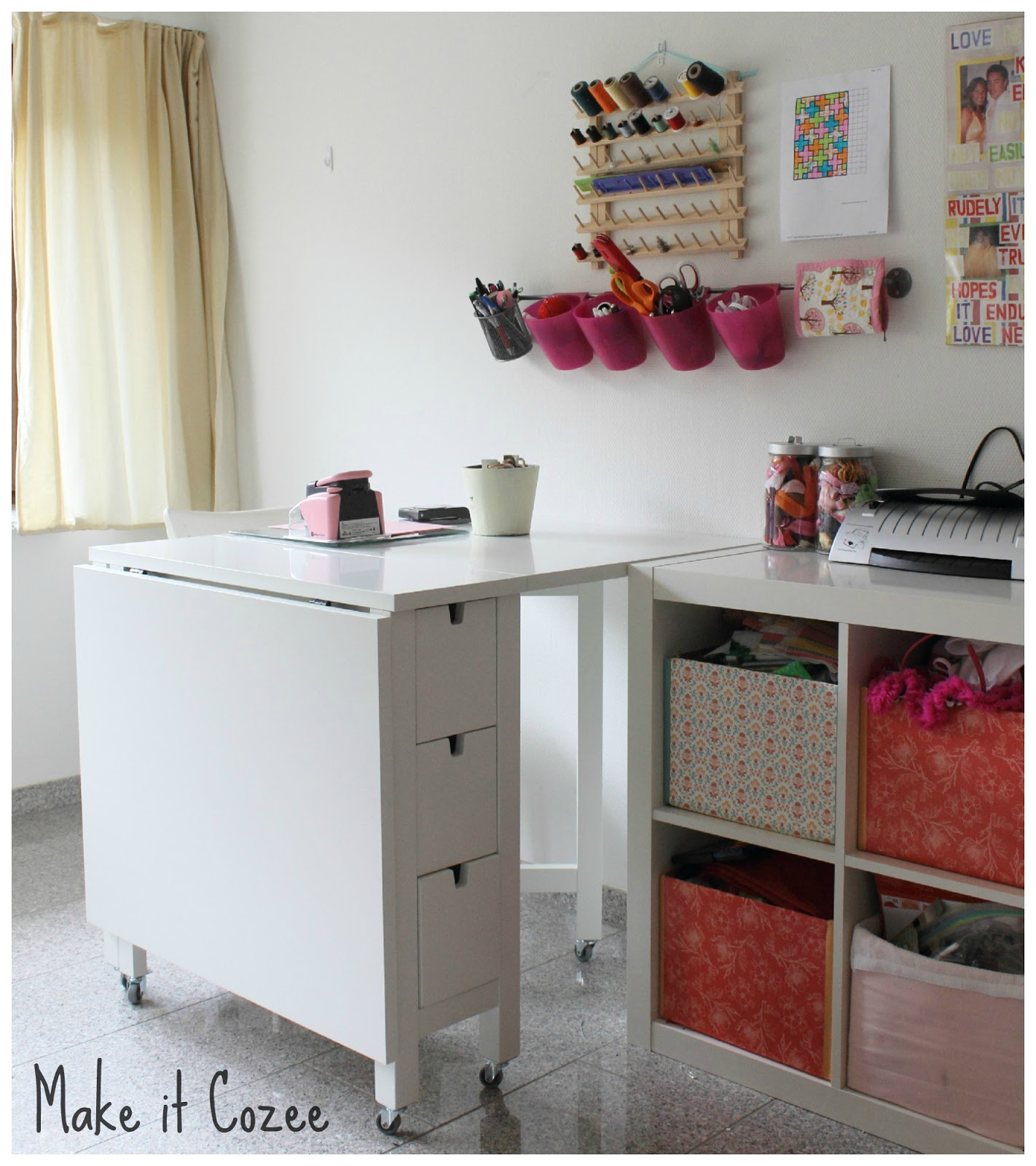 Make it cozee norden gateleg with wheels sewing table for Make a craft table
