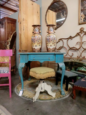 turquoise writing desk
