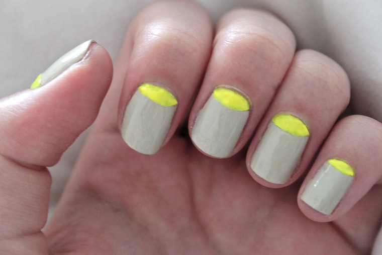 neon yellow half moon nail design - The Beauty Series Uk Beauty Blog: Neon Yellow Half Moon Nail Design