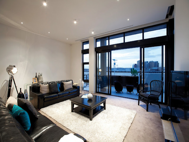 Photo of modern black and white living room interiors