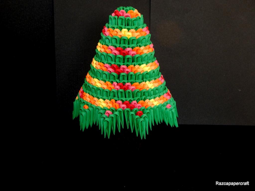 Razcapapercraft 3d origami christmas tree tutorial 3d origami christmas tree jeuxipadfo Images