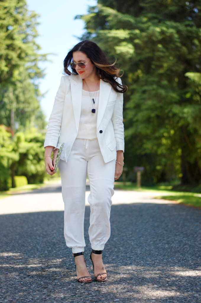Vancouver blog Covet and Acquire Smythe Les Vests Blazer, Aritzia jogger pants, Joe Fresh Silk Top, KV Bijou Jewelry, Aldo Shoes, Ela Clutch