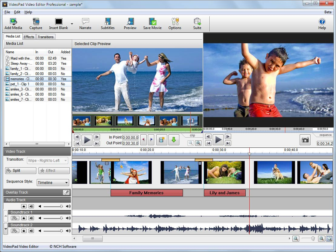 NCH VideoPad Video Editor Professional 4.40