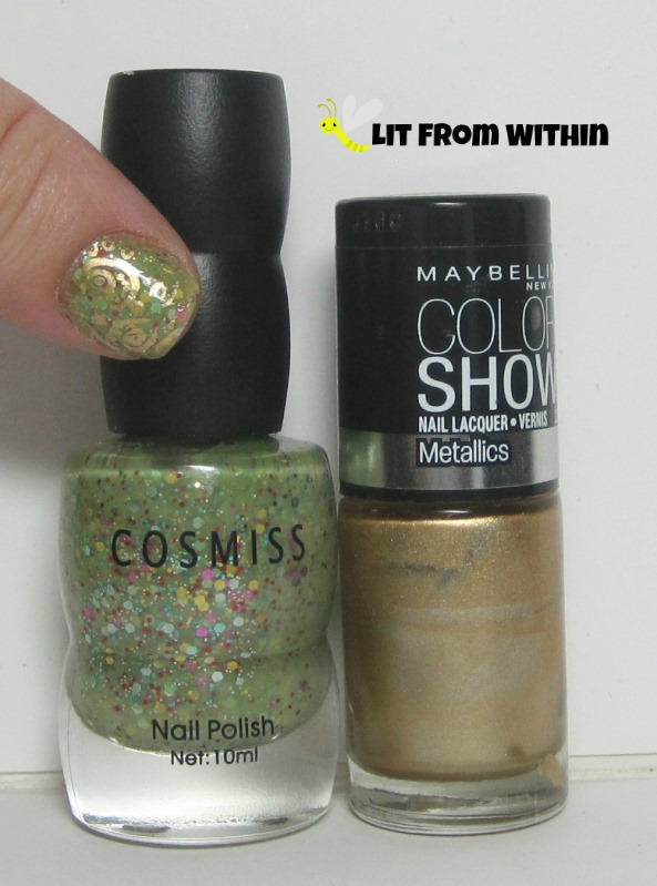 Bottle shot:  Cosmiss 3, and Maybelline Bold Gold.