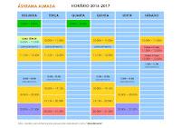 HORÁRIO das AULAS do YOGA - 2016/17