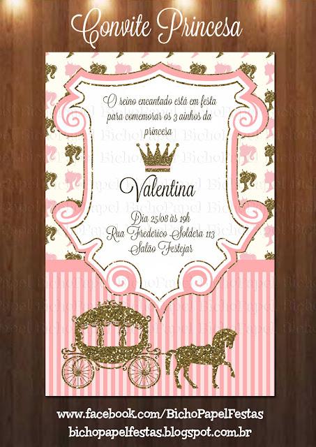 Convite Princesa Rosa