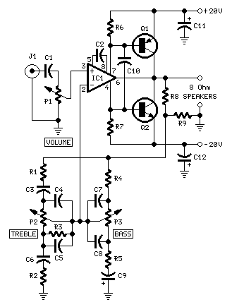 18W Class-B Audio Amplifier with Tone Controls