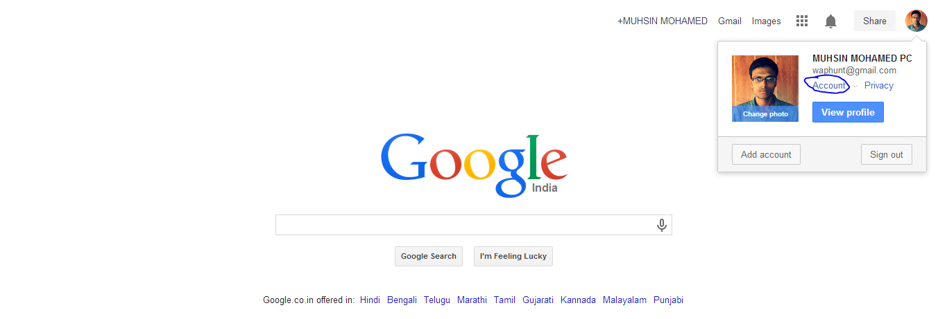 Click on your Avatar on the right top of the Google Page