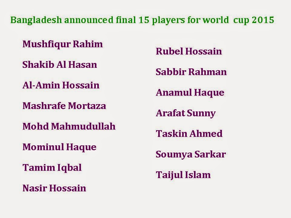 Bangladesh Final 15 squad for world cup 2015