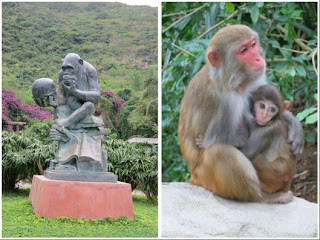 Photo Of The Monkey Statue On Left And A That Breast Feeding Her Child To Reach This Island You Need Take Cable Car Over