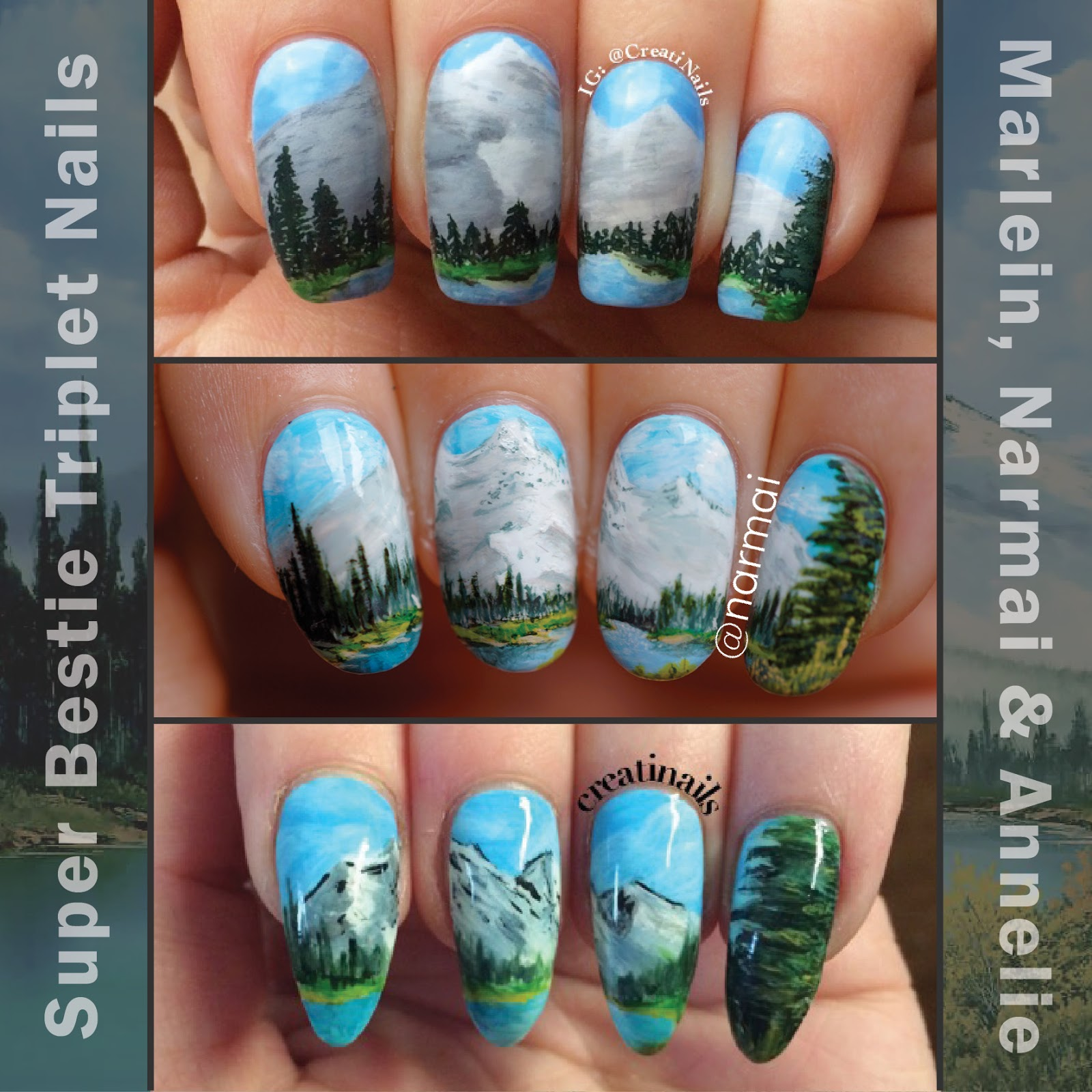 Piggieluv Nail Art Inspired By A Bob Ross Painting