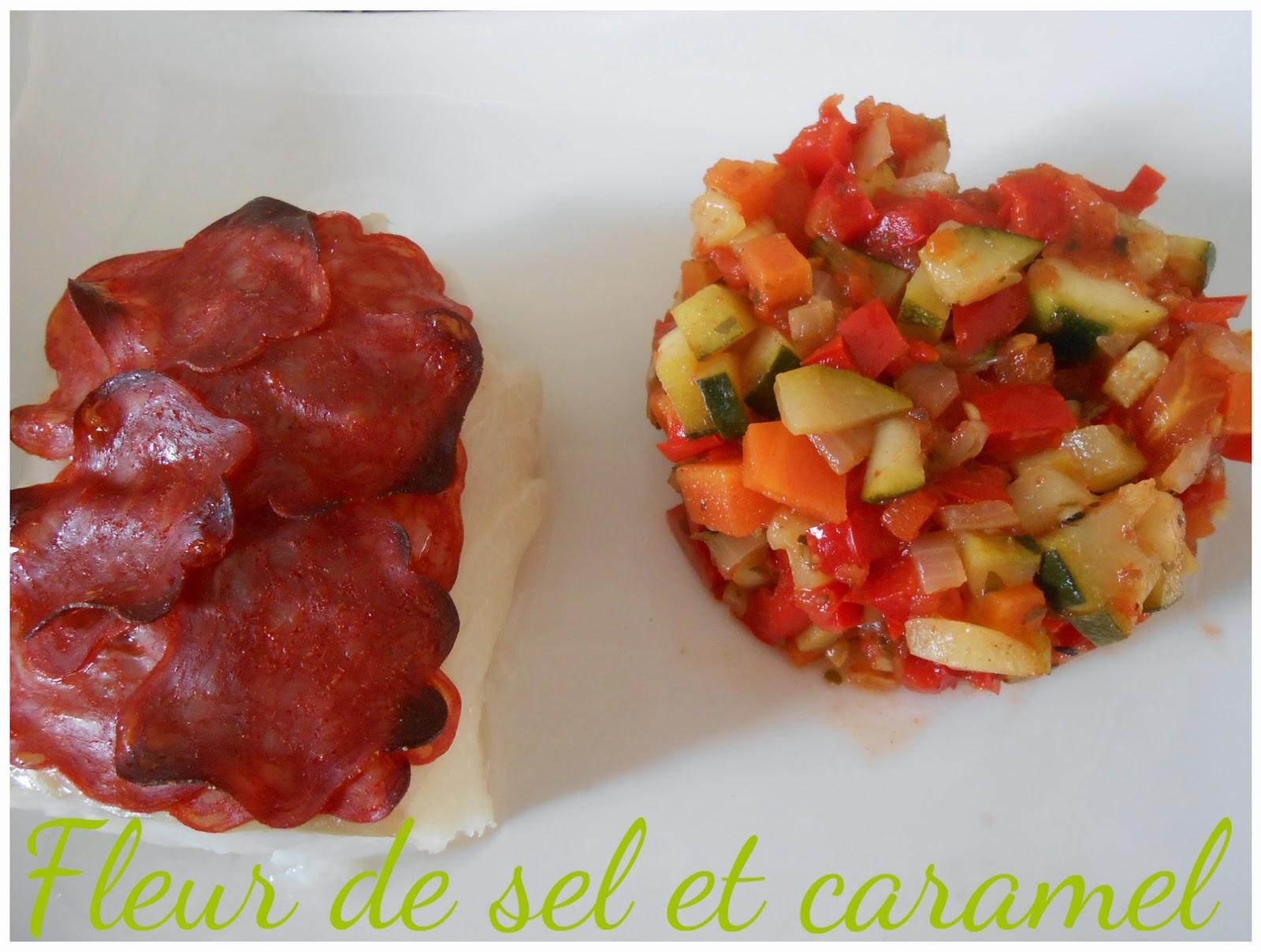 Julienne de légumes - cabillaud en écaille de chorizo