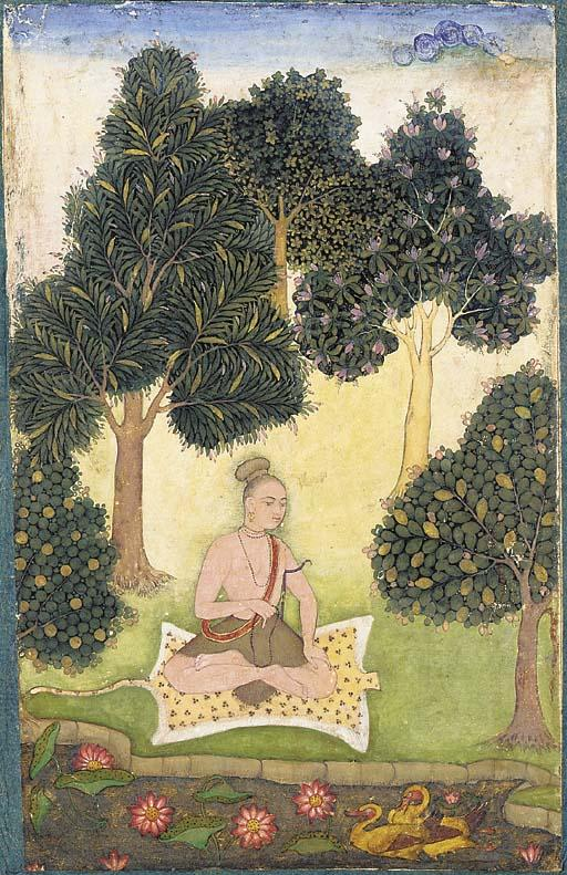 A yogi seated in a garden, North Indian or Deccani miniature painting, c.1620-40 Wikimedia