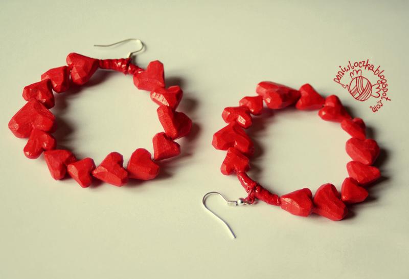 Kolczyki z sercami z modeliny