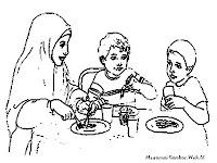 Gambar Mewarnai Makan Saat Berbuka Dibulan Puasa