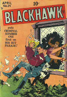 BH 24 cover--Blackhawk jumping through window glass with woman in hs arms, man with gun behind them