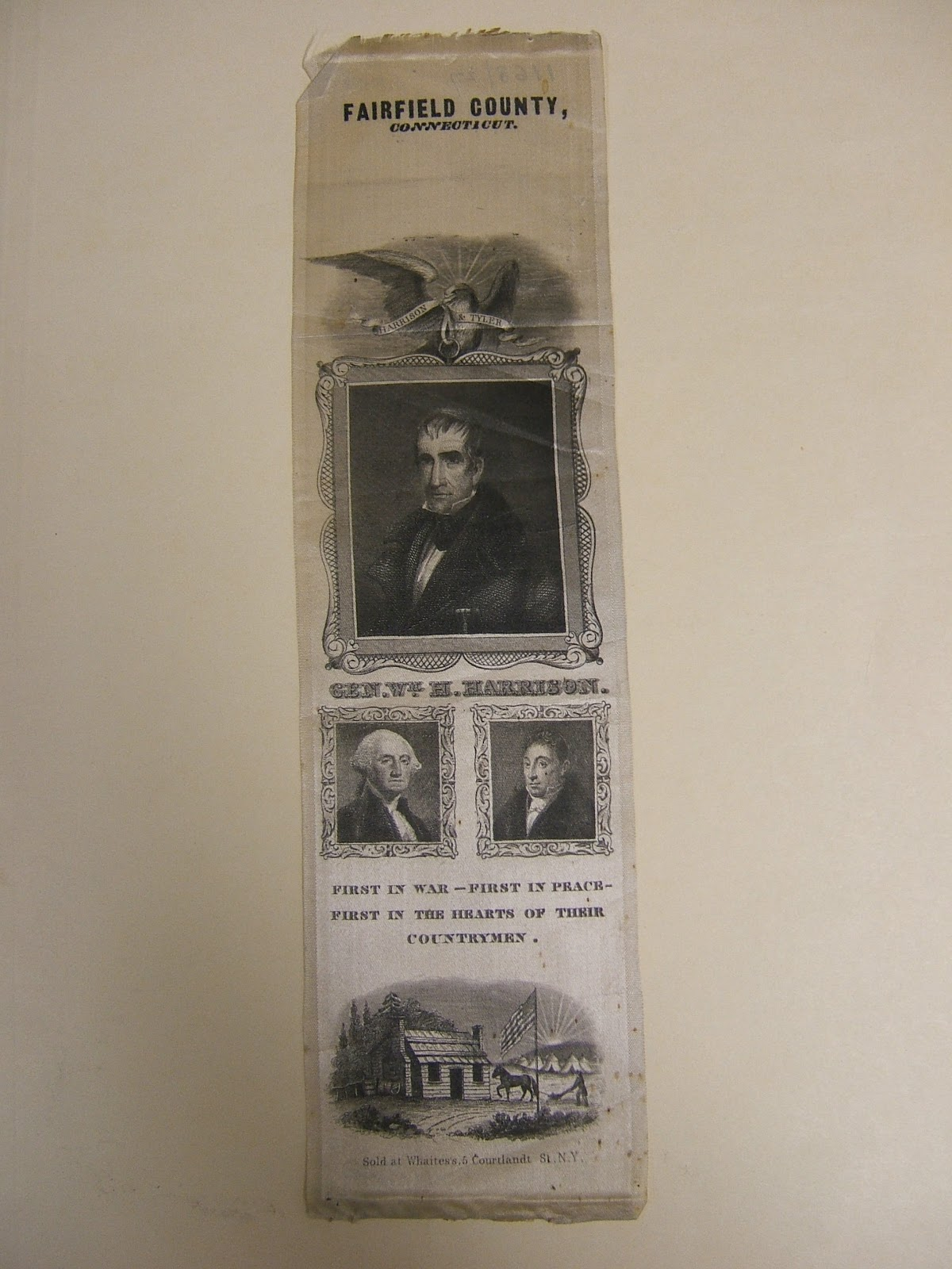 Very Impressive portraiture of Campaign ribbon. Silk. 1840. Rosenb a ch Museum & Library. 2006.7650 with #7A6A51 color and 1200x1600 pixels