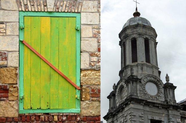 Ventanal de casa y Catedral de San Juan en St John's, Antigua