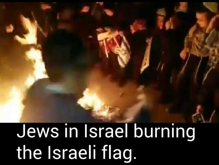 click for video. Jews burning Israeli flag