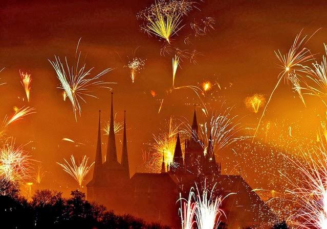 Fuegos Artificiales, año nuevo 2014, Erfurt, Alemania
