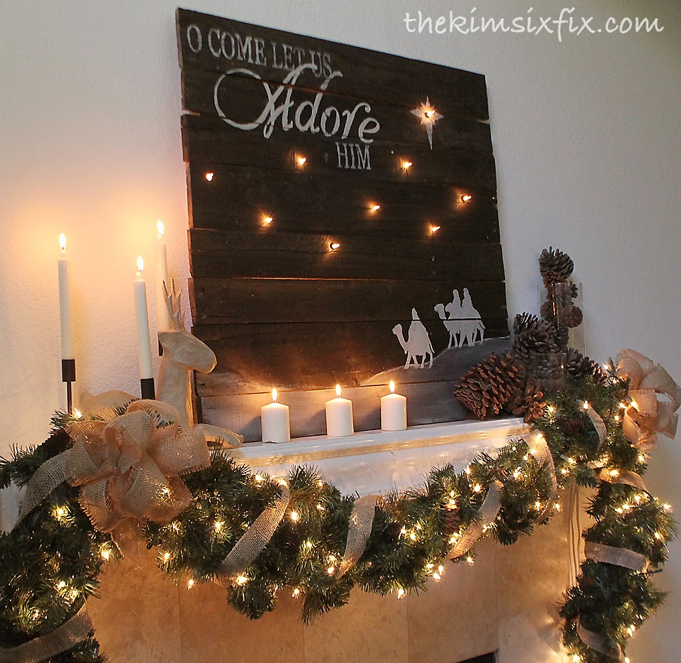 Rustic christmas mantel decorating -  O Come Let Us Adore Him Rustic Christmas Mantle