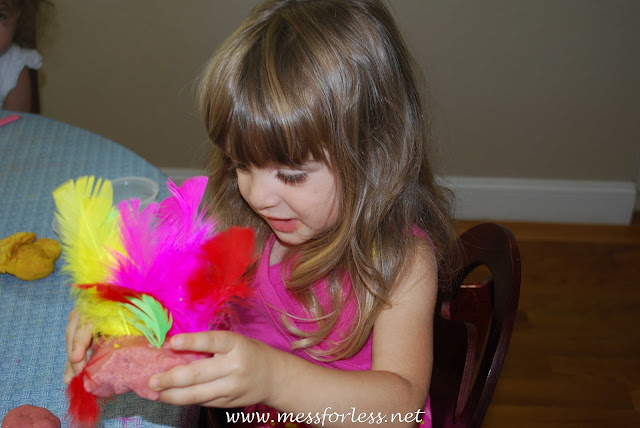 feathers and play dough