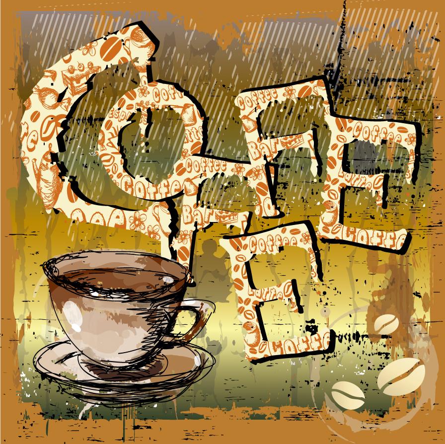 珈琲テーマのグランジスタイル背景 coffee illustrator labels bottle stickers イラスト素材