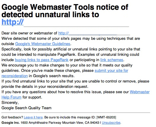 Google Manual Search Penalty