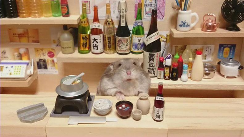 Hamster comerciantes atendiendo restaurantes y bares