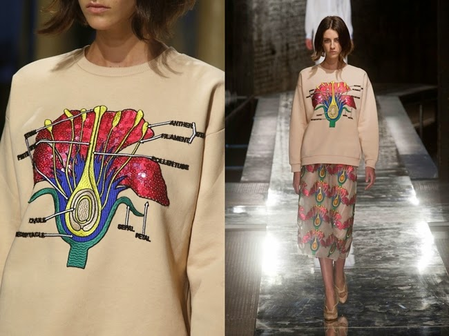 Christopher Kane 2014 SS Sequin Carnation Cotton-Blend Sweatshirt