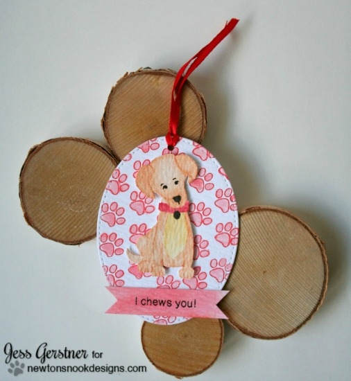 Labrador Dog Watercolored Tag by Jess Gerstner | Fetching Friendship Stamp set by Newton's Nook Designs