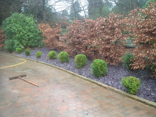 Border edging and purple slate chips