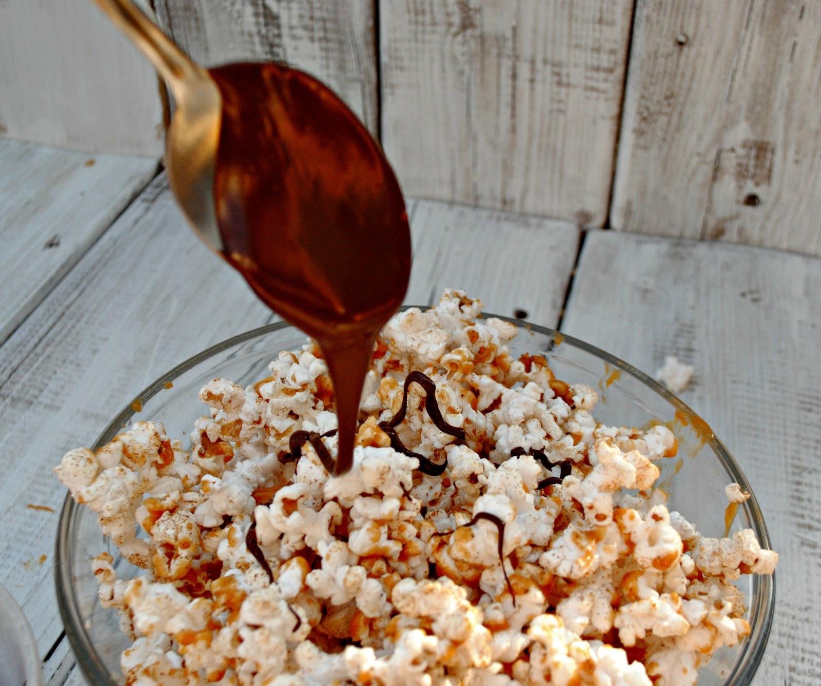 Drizzle Chocolate on Popcorn