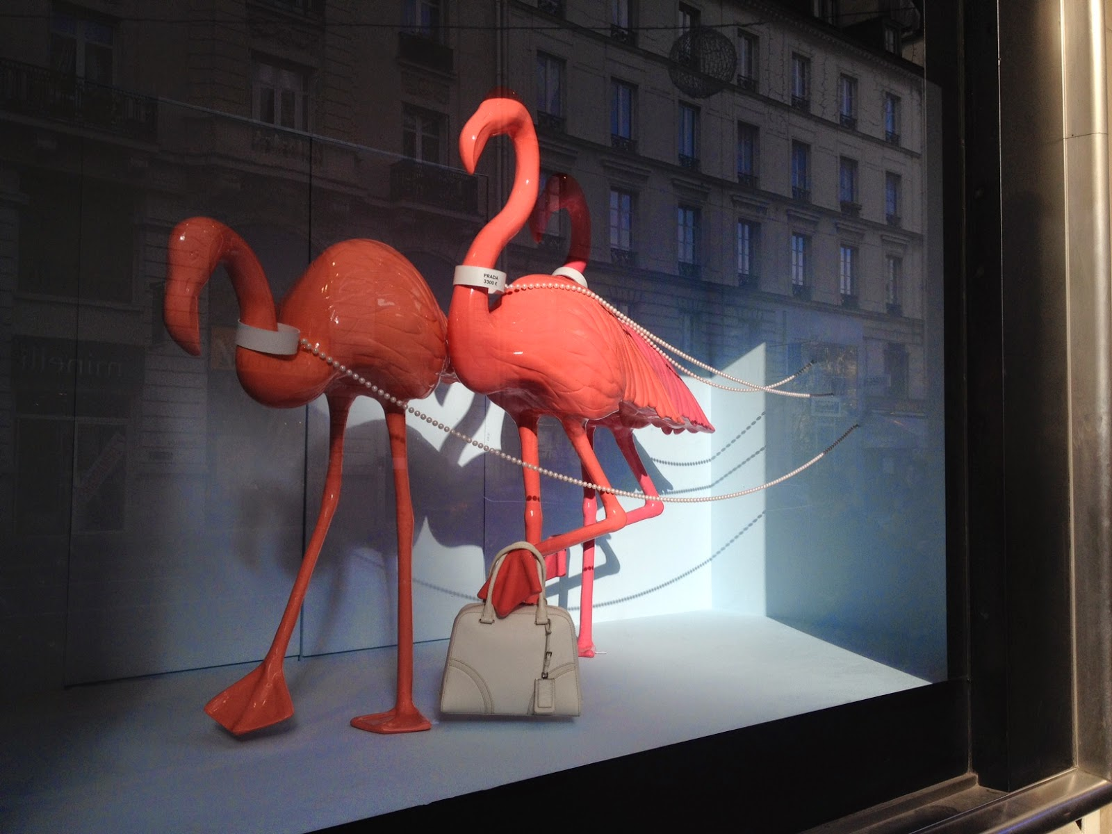 Flamingo window at Le Bon Marché, Paris