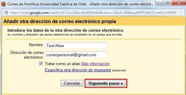 direccion de correo electronico