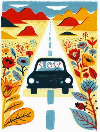 Laurent Moreau illustration of a car in the middle of the road in the desert