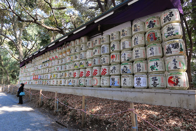 These sake barrels are offered yearly by sake brewers in Jaan to show their respect for the souls of Emperor Meiji and Empress Shoken at Meiji Shrine in Tokyo, Japan