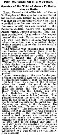 Opening of the Trial of James F. Hodgdon at Bath.