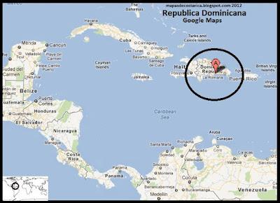 Mapa de Republica Dominicana en Centroamérica y El Caribe, Google Maps