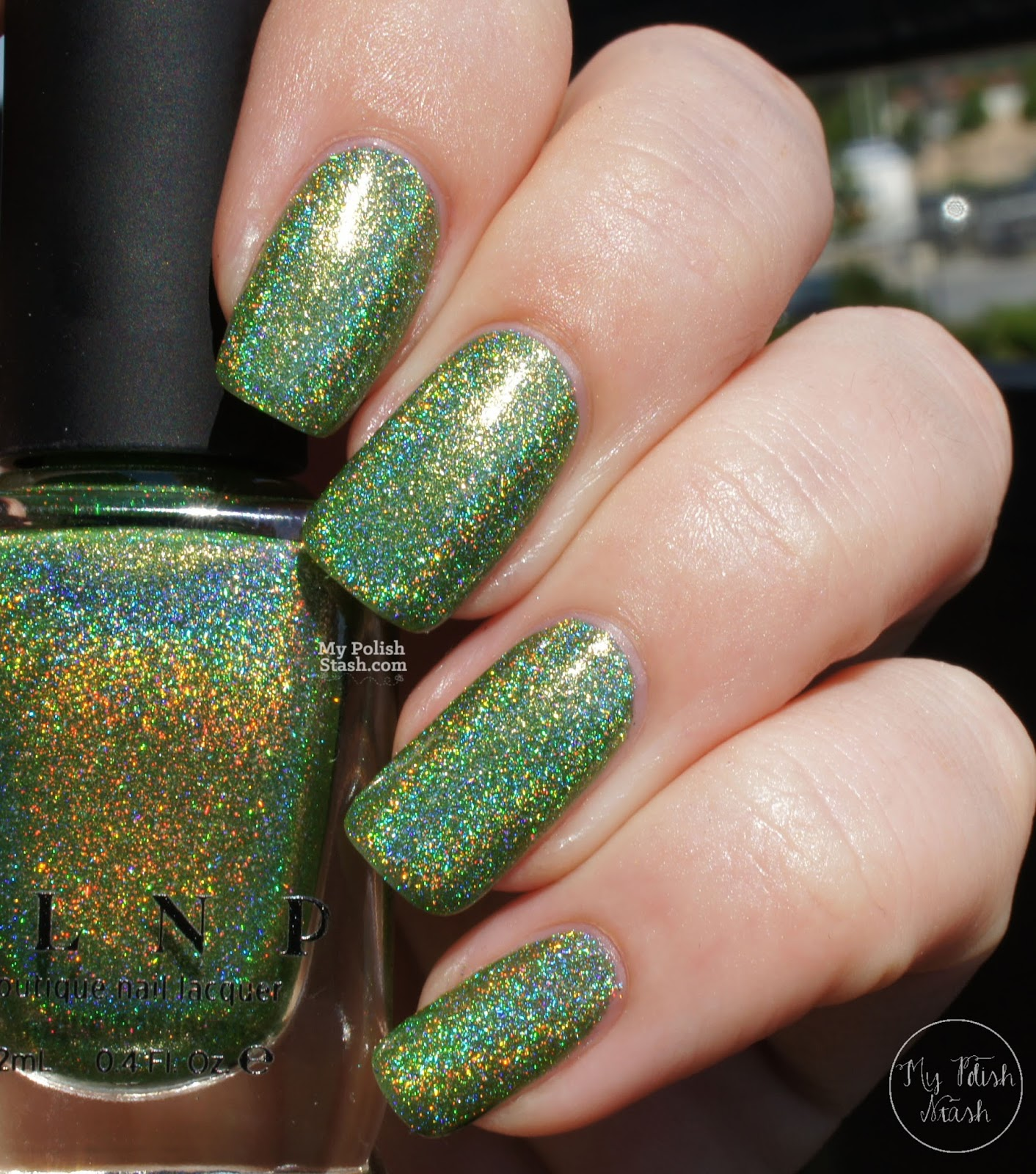 lime green holographic nail polish