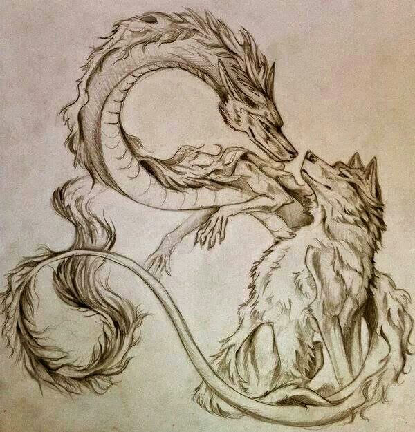 ♥ ♫ ♥  Awesome Tattoo idea of wolf and dragon Chinese dragon together design ink ♥ ♫ ♥