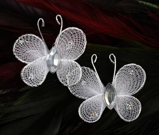 mini white nylon artificial butterflies 50pcs