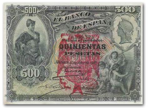 Sello falso - Otro sello en tinta Billete+500