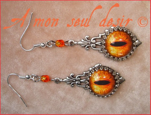 Boucles d'Oreilles Yeux Dragon Oeil de Sauron Tolkien Le Seigneur des Anneaux Lord of The Rings Dragons Eyes Earrings