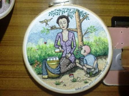 Herb Drinks Seller Embroidery Painting