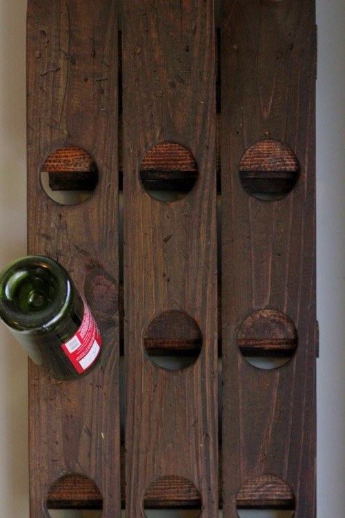 diy wall mount riddling wine rack from an old fence. Black Bedroom Furniture Sets. Home Design Ideas